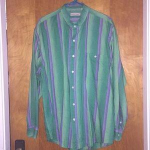 Vintage Blue & Green Striped Bugle Boy Co. Shirt